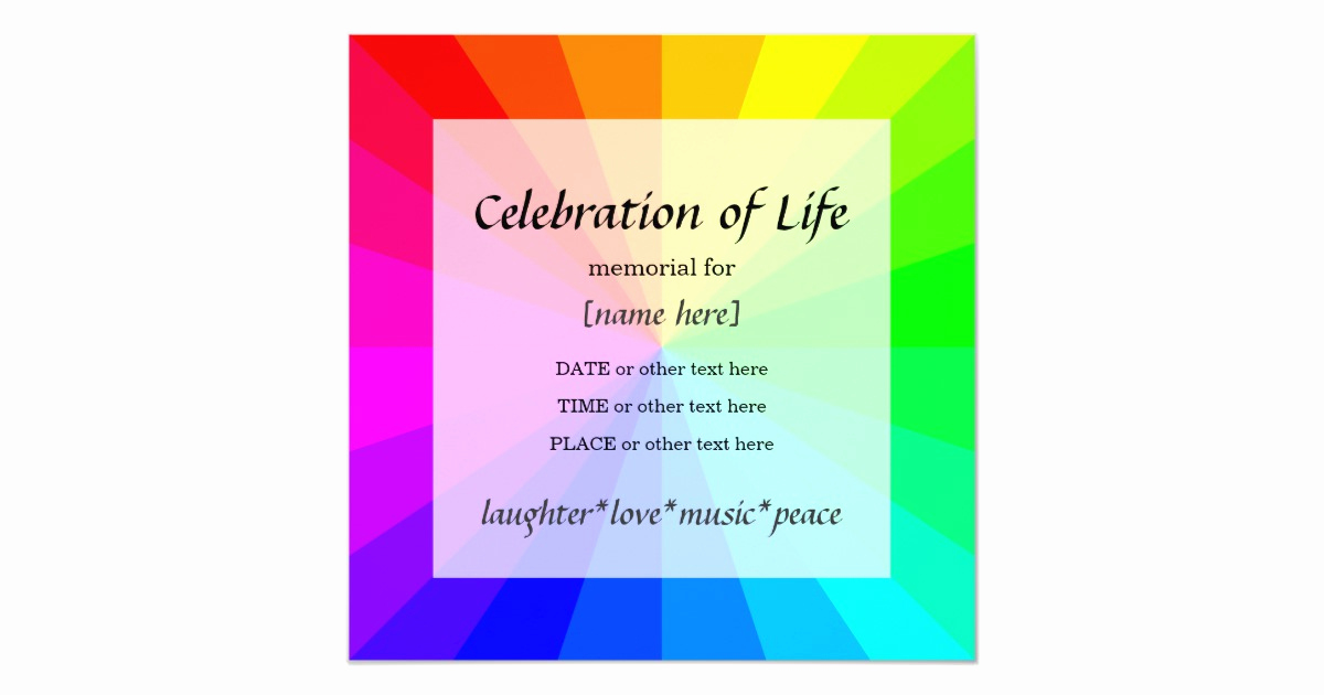 Celebration Of Life Invitation Wording Best Of Rainbow Celebration Of Life Memorial Invitation