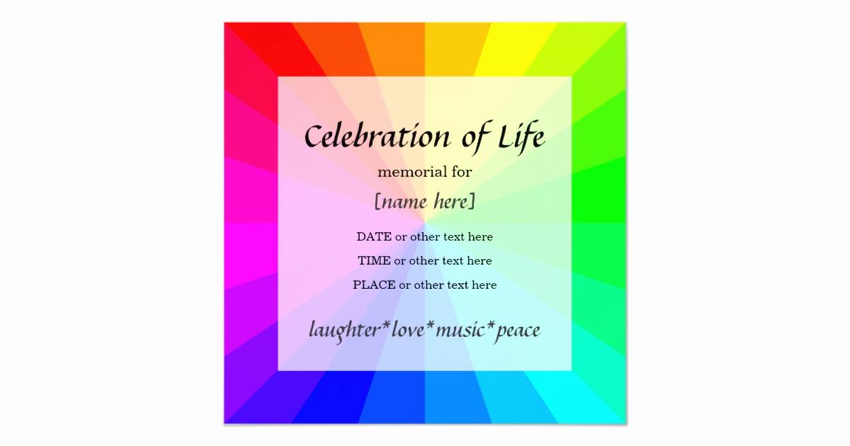 Celebration Of Life Invitation Wording Best Of Rainbow Celebration Of Life Memorial Invitation