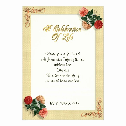 Celebration Of Life Invitation Wording Elegant Celebration Of Life Invitation Vintage Hibiscus