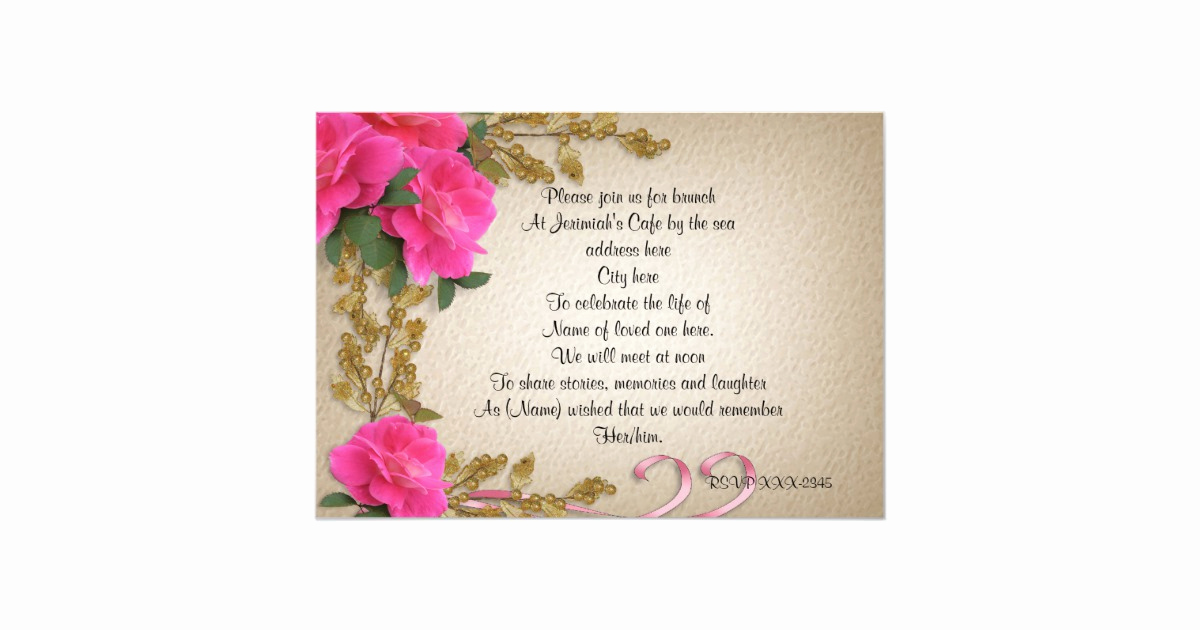 Celebration Of Life Invitation Wording Inspirational Celebration Of Life Invitation