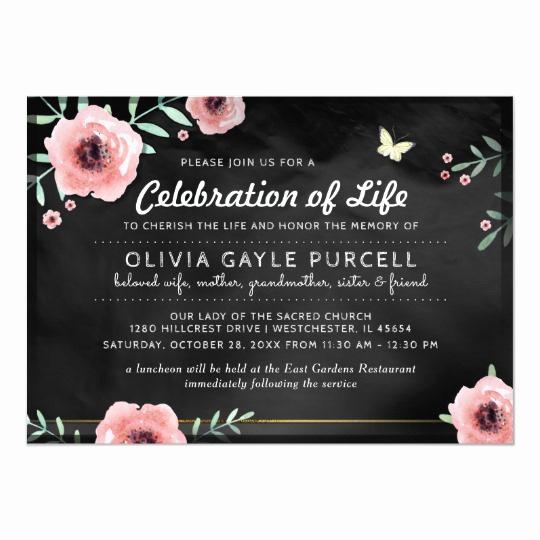 Celebration Of Life Invitation Wording Inspirational Celebration Of Life Invite Pink & Black Floral