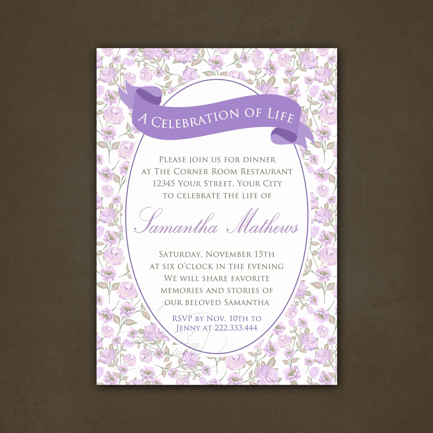 Celebration Of Life Invitation Wording Inspirational Printable Celebration Of Life Invitation Floral Lavender