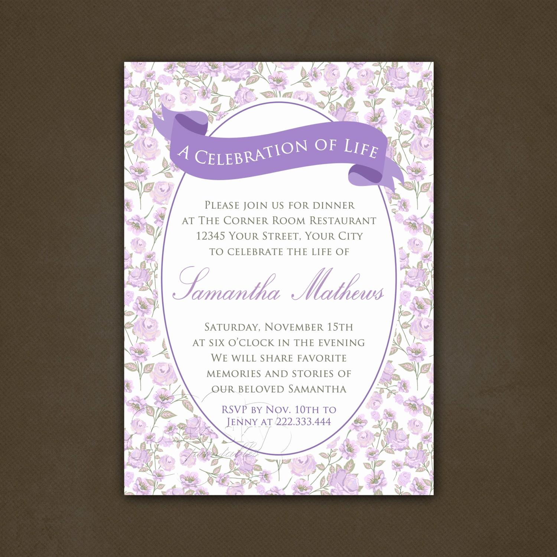 Celebration Of Life Invitation Wording Inspirational Printable Celebration Of Life Invitation Floral Lavender