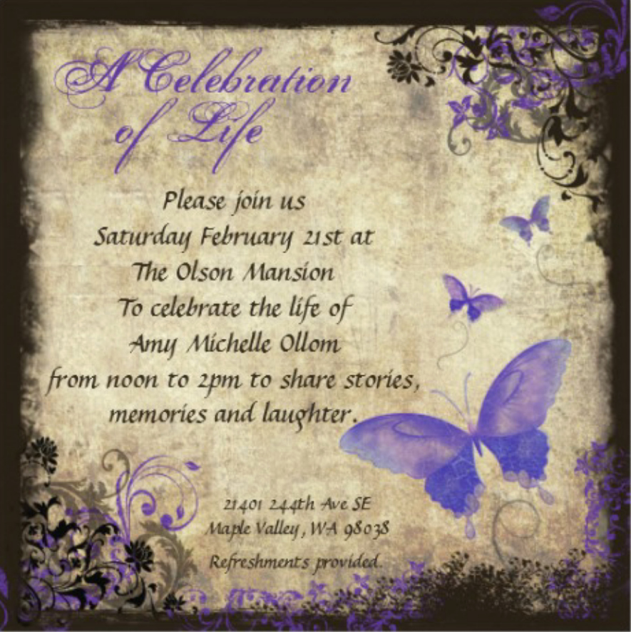 Celebration Of Life Invitation Wording Lovely Amy S Celebration Of Life Invitation & Details Amy Ollom