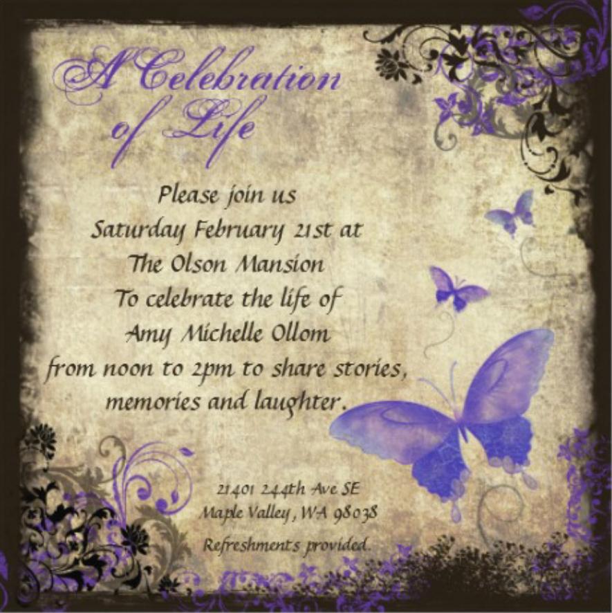 Celebration Of Life Invitation Wording Lovely Amy S Celebration Of Life Invitation & Details Amy Ollom