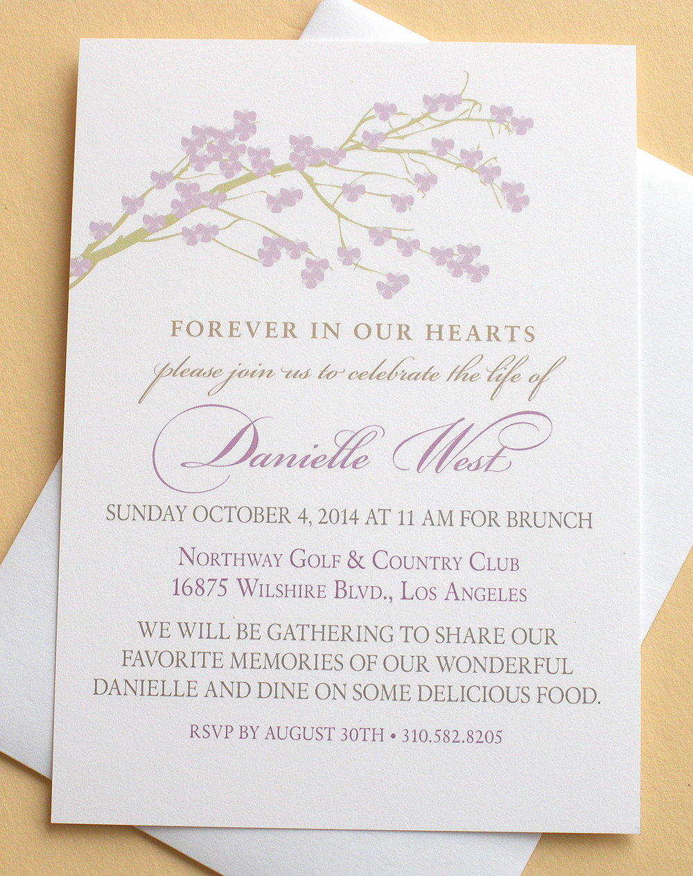 Celebration Of Life Invitation Wording Lovely Celebration Of Life Invitations with A Branch Of by