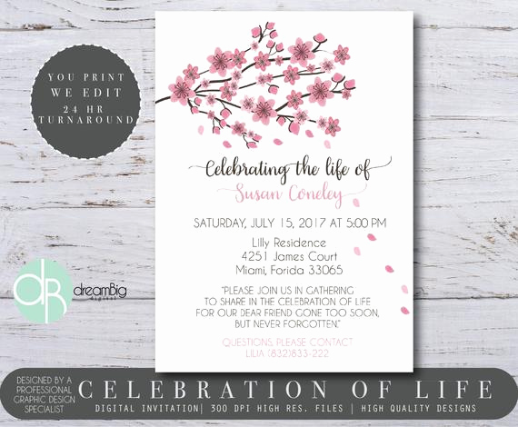 Celebration Of Life Invitation Wording Luxury Celebration Of Life Invitations Cherry Blossom Tree Memorial