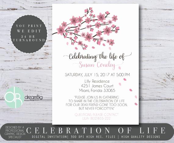 Celebration Of Life Invitation Wording Luxury Celebration Of Life Invitations Cherry Blossom Tree Memorial