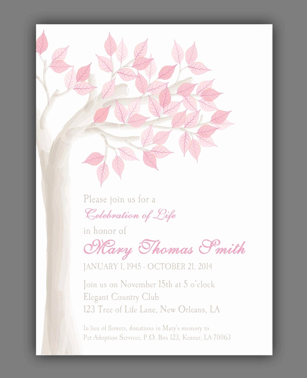 Celebration Of Life Invitation Wording Unique Elegant Tree Celebration Of Life Invitation Printable or