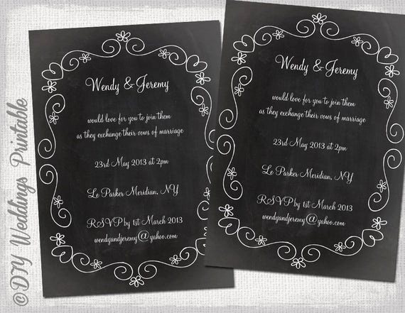 Chalkboard Invitation Template Free Awesome Wedding Invitation Template Chalkboard Diy Wedding