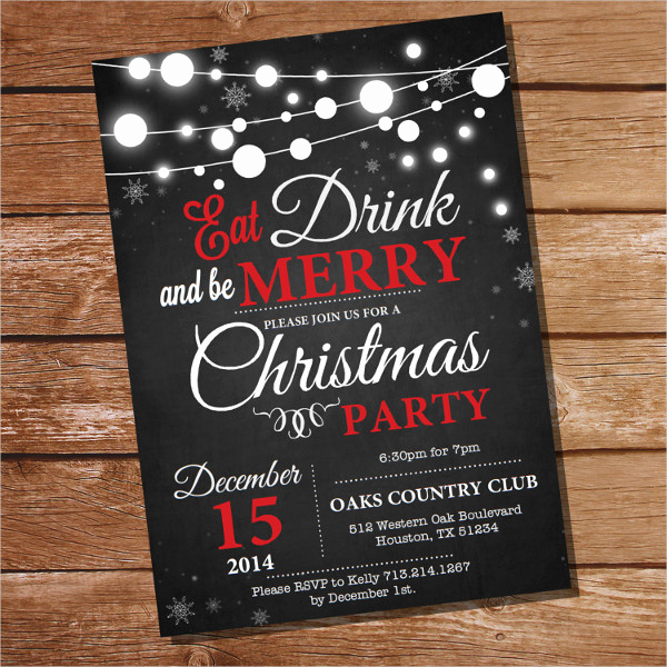Chalkboard Invitation Template Free Beautiful 31 Christmas Party Invitation Templates Psd Ai Word
