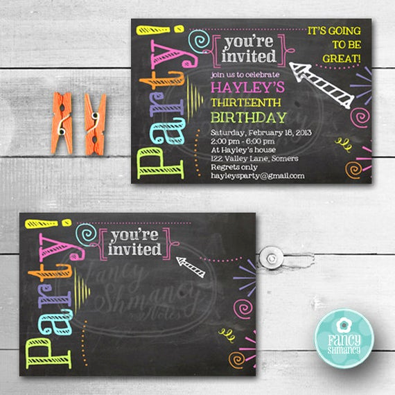 Chalkboard Invitation Template Free Fresh Birthday Invitation Chalkboard Invitation Neon Colors
