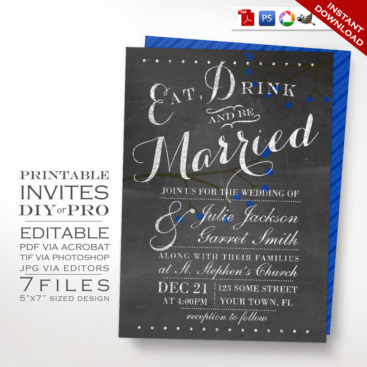 Chalkboard Invitation Template Free Inspirational Printable Diy Berries Chalkboard Royal Blue Wedding