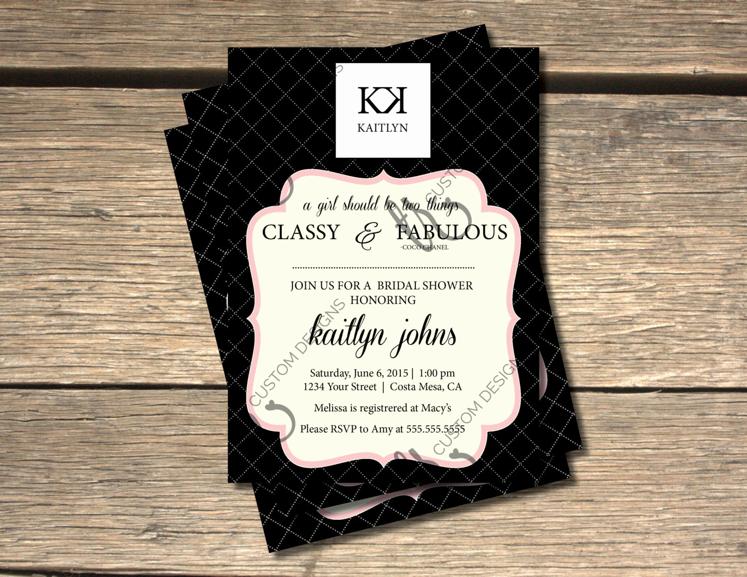 Chanel Bridal Shower Invitation Awesome Coco Chanel Inspired Bridal Shower Invitation 5x7