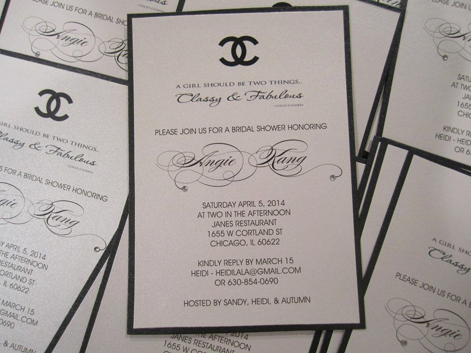 Chanel Bridal Shower Invitation Beautiful Crystalizing these Custom Made Chanel themed Bridal Shower