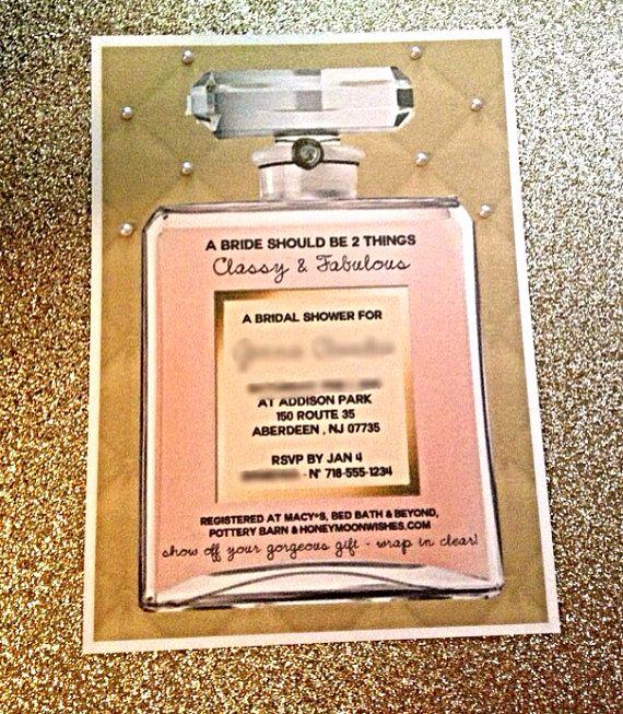Chanel Bridal Shower Invitation Elegant Chanel Inspired Bridal or Baby Shower Invite Perfume