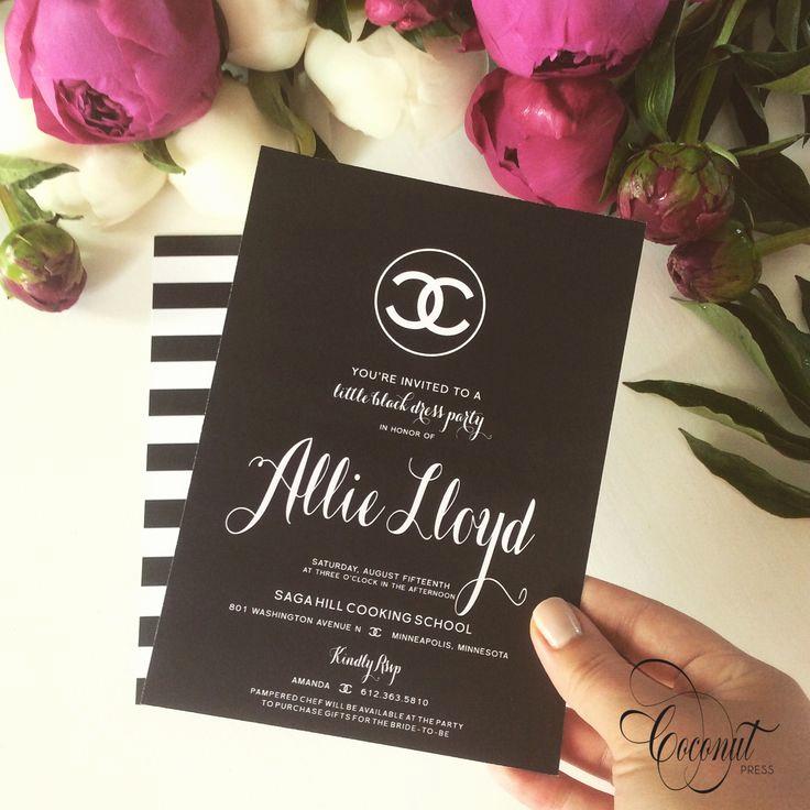 Chanel Bridal Shower Invitation Elegant Chanel Inspired Bridal Shower Invitations Black and