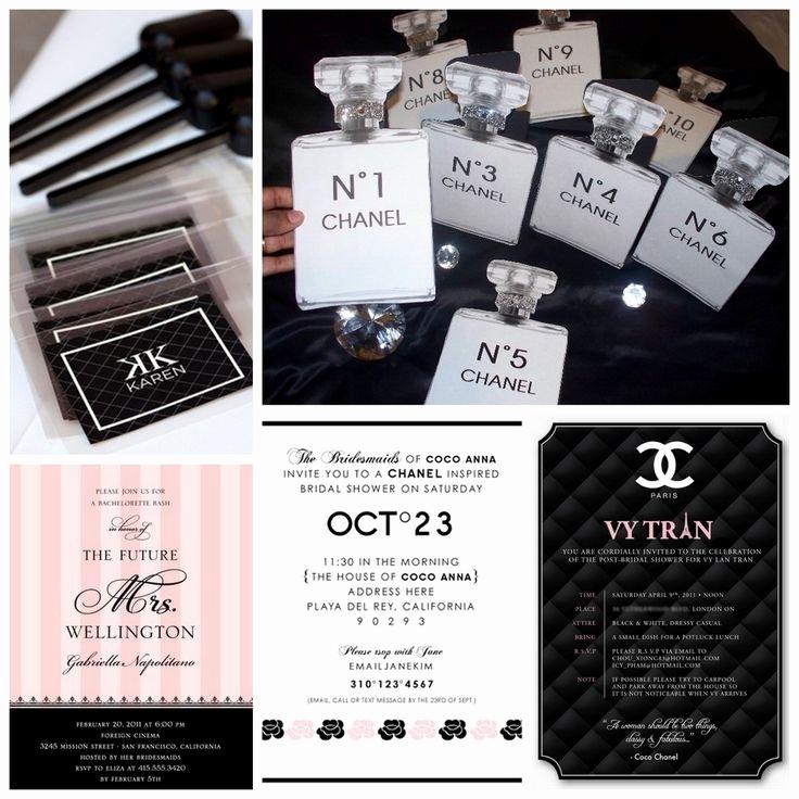 Chanel Bridal Shower Invitation Elegant Chanel themed Invitations Cobypic