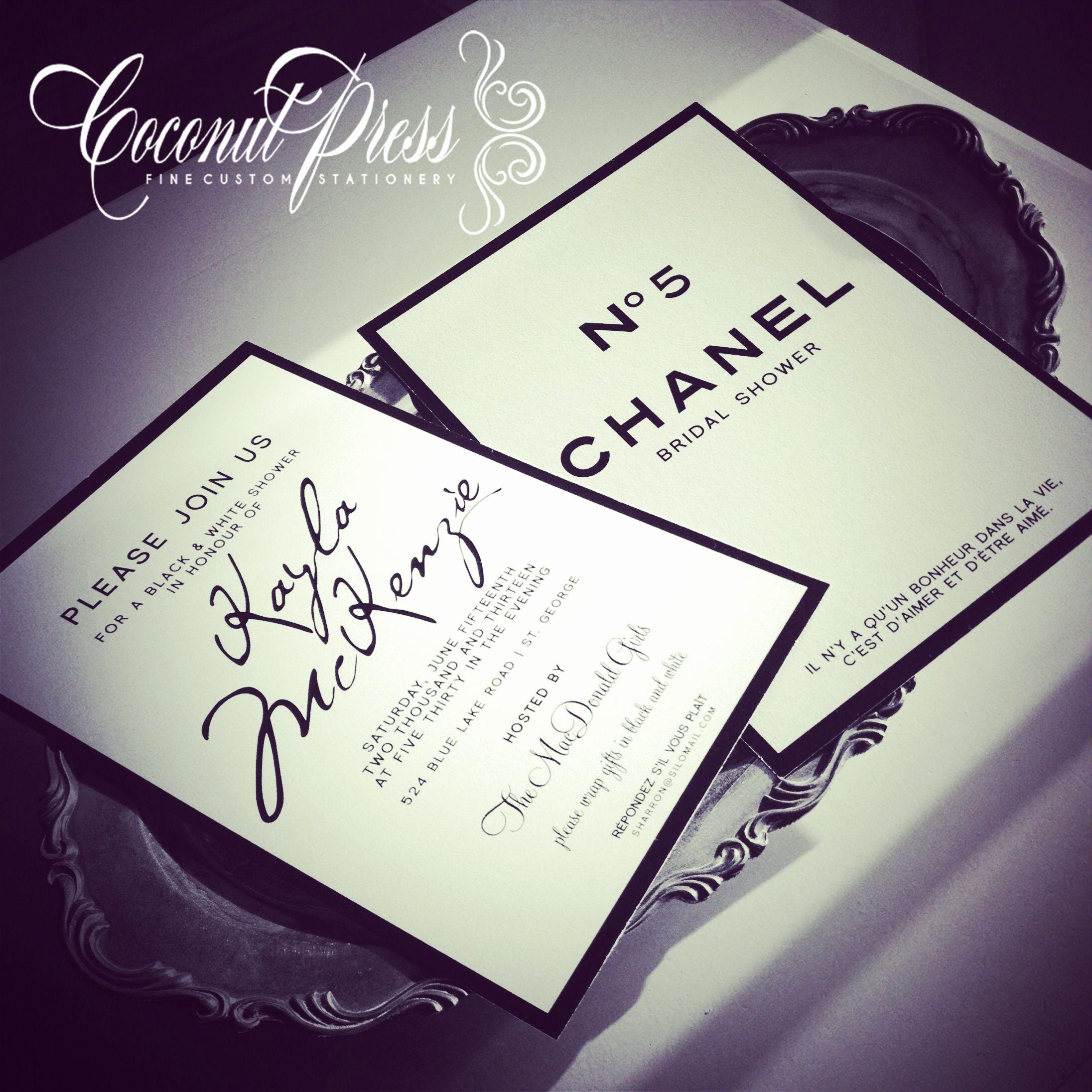 Chanel Bridal Shower Invitation Elegant Coco Chanel Inspired Black & White Shower Invitations
