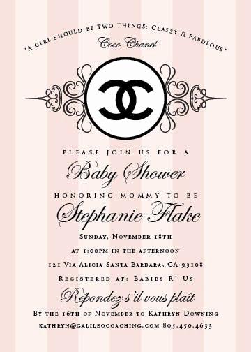Chanel Bridal Shower Invitation Elegant Reserved for Jill Coco Chanel Baby Shower Invitation