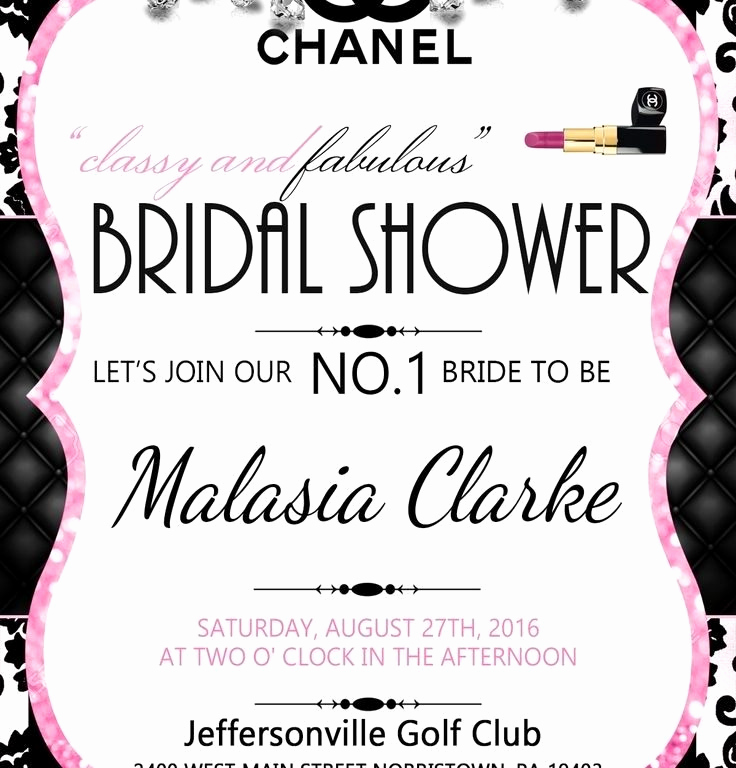 Chanel Bridal Shower Invitation Fresh Coco Chanel Bridal Shower Invitations Cobypic