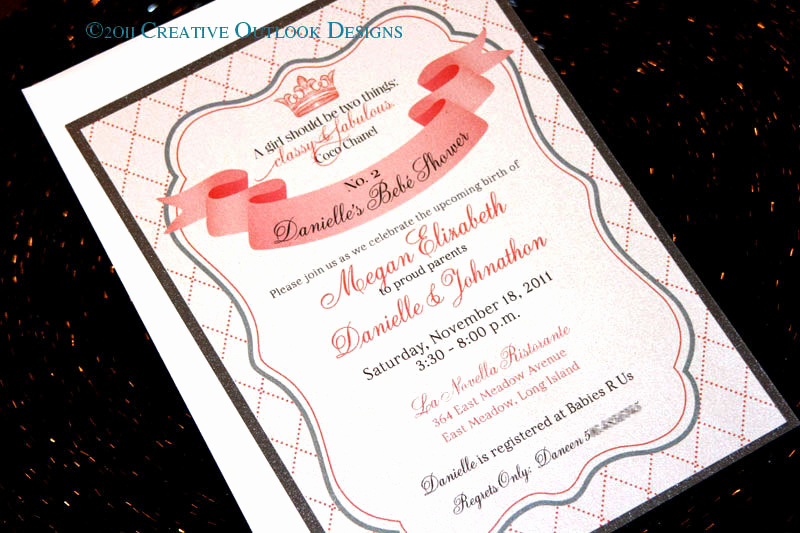 Chanel Bridal Shower Invitation Fresh Coco Chanel Wedding Baby Bridal Shower Invitation