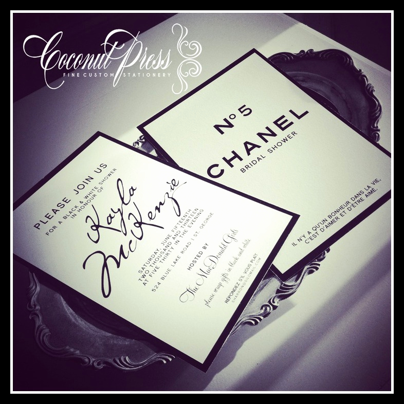 Chanel Bridal Shower Invitation Inspirational Coco Chanel Bridal Shower theme