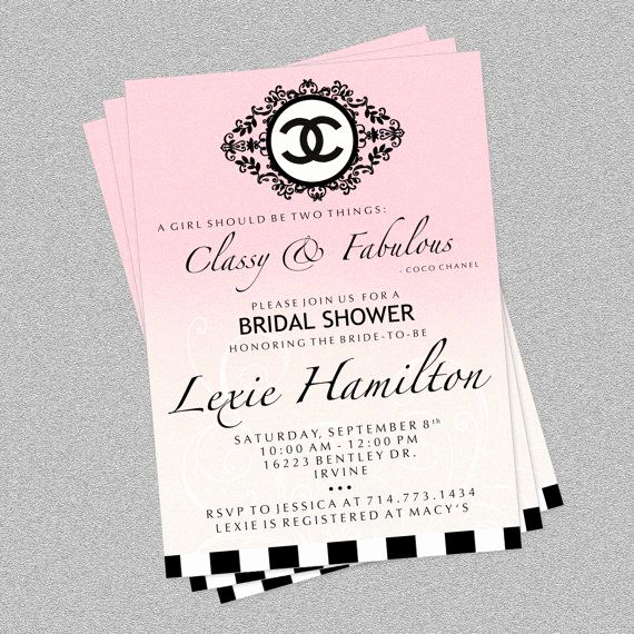 Chanel Bridal Shower Invitation Inspirational Coco Chanel Custom Invite by Partypixieinvites On Etsy