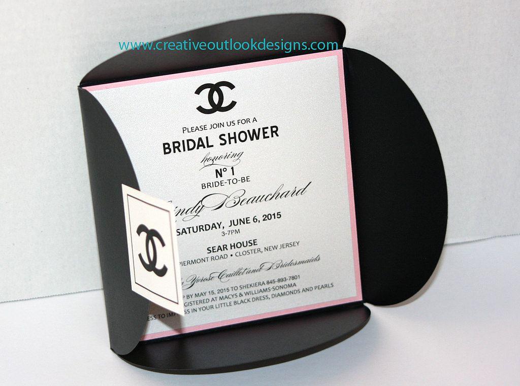 Chanel Bridal Shower Invitation Unique Cc Chanel Inspired Invitation