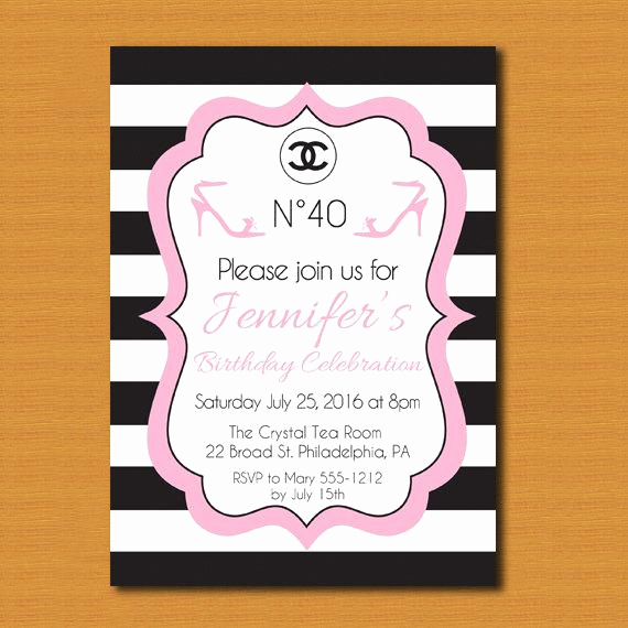 Chanel Bridal Shower Invitation Unique Sale Chanel Inspired Party Invitation Chanel by
