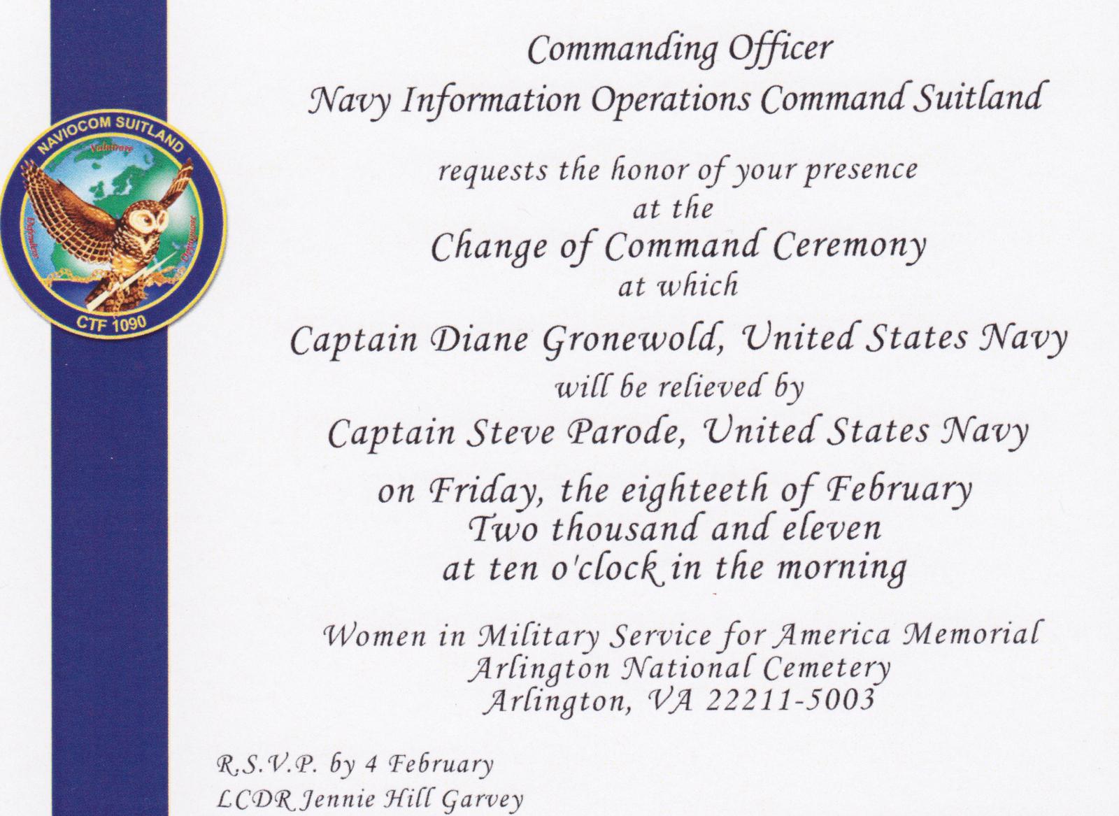 Change Of Command Invitation Beautiful I Like the Cut His Jib February 2011