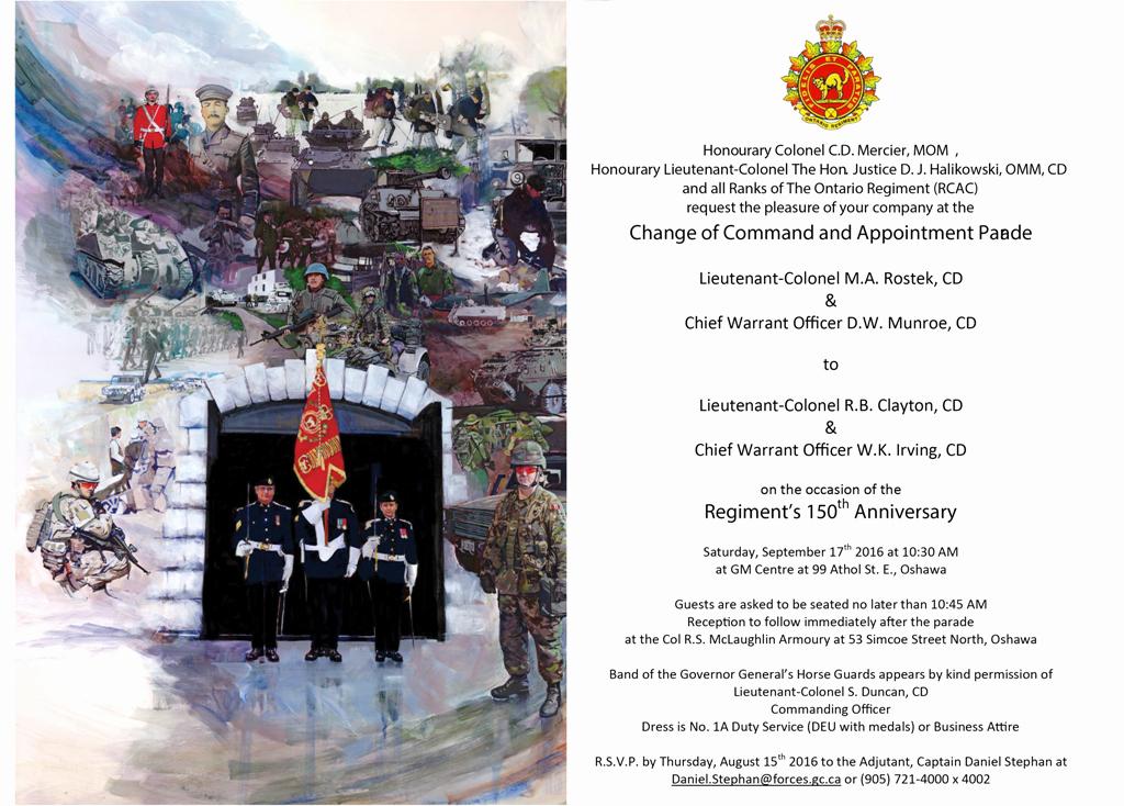 Change Of Command Invitation Beautiful Tario Regiment Rcac Regimental Museum Wel E
