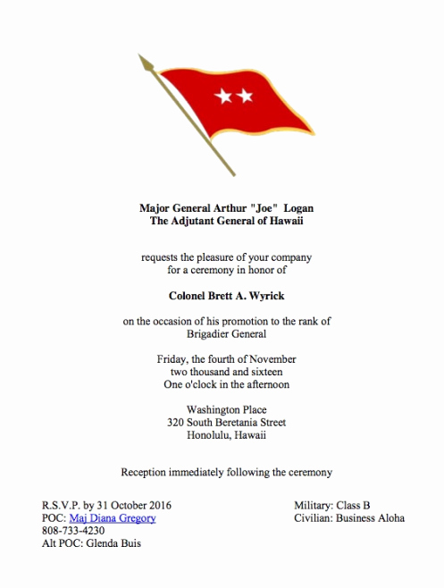 Change Of Command Invitation Best Of Col Wyrick's Promotion to Briga R General