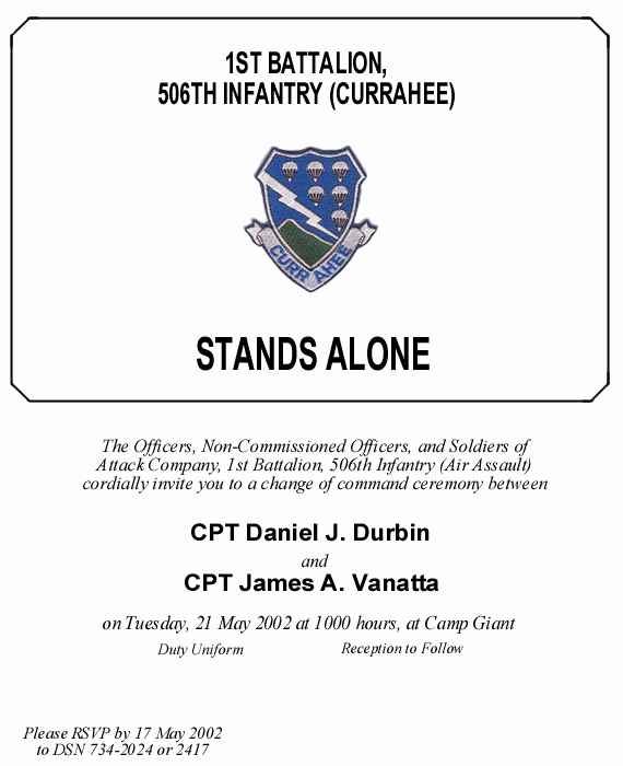 Change Of Command Invitation Fresh attack Pany Change Of Mand May 2002