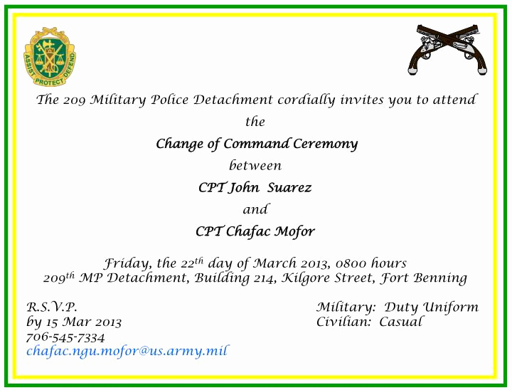 Change Of Command Invitation Inspirational Ppt the 209 Military Police Detachment Cordially Invites