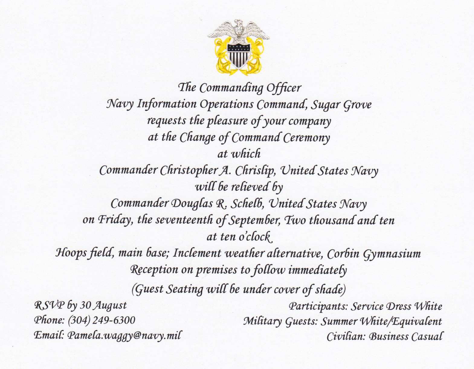 Change Of Command Invitation Lovely I Like the Cut His Jib September 2010