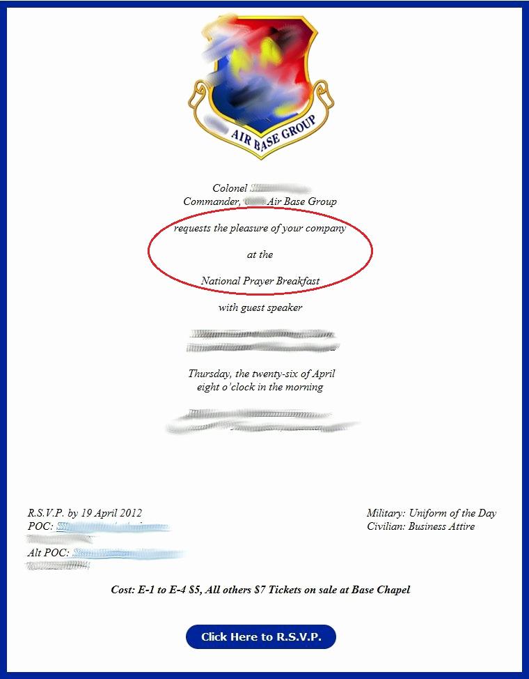 Change Of Command Invitation Luxury Brief Testimonial Re Prayer Breakfast