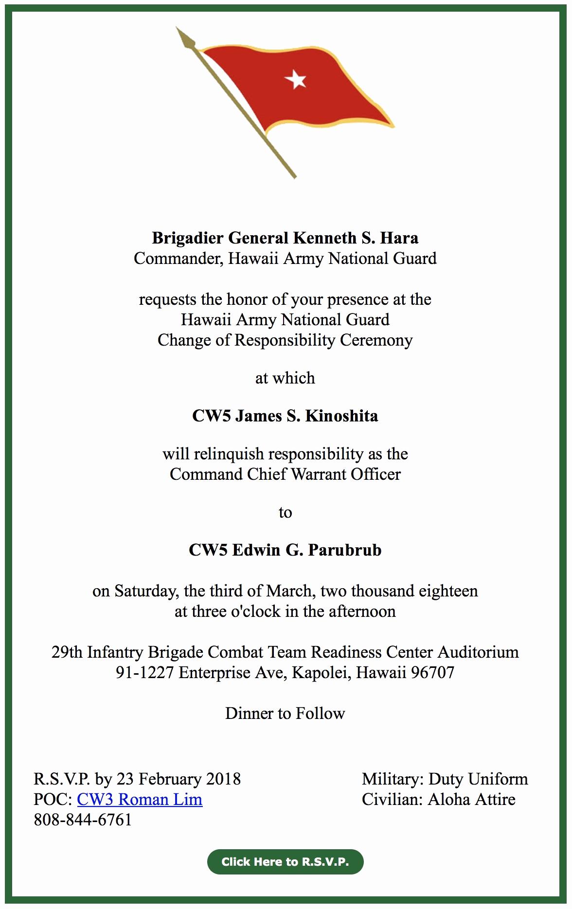 Change Of Command Invitation Unique Hiarng Ccwo Change Of Responsibility Ceremony Invitation