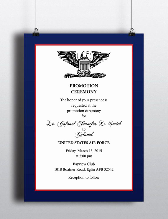 Change Of Command Invitation Unique Military Style Promotion Recognition Elegant Professional