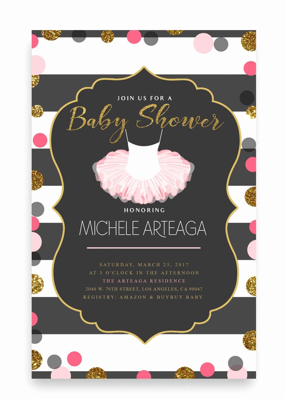 Cheap Baby Shower Invitation Elegant Pink Tutu Baby Shower Invitation