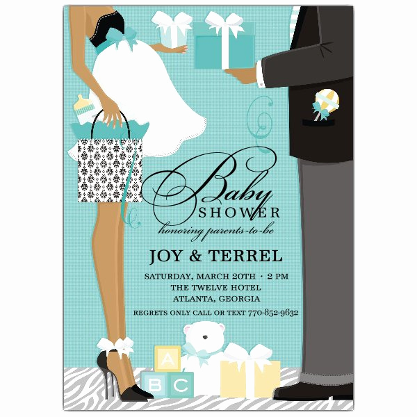 Cheap Baby Shower Invitation Fresh Classic Couple African American Blue Shower Invitations