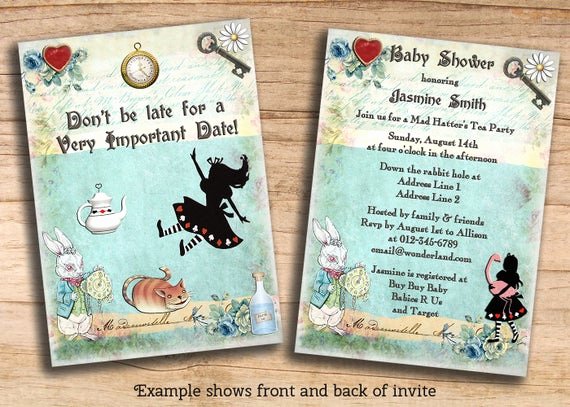 Cheap Baby Shower Invitation Fresh Items Similar to Alice In Wonderland Baby Shower