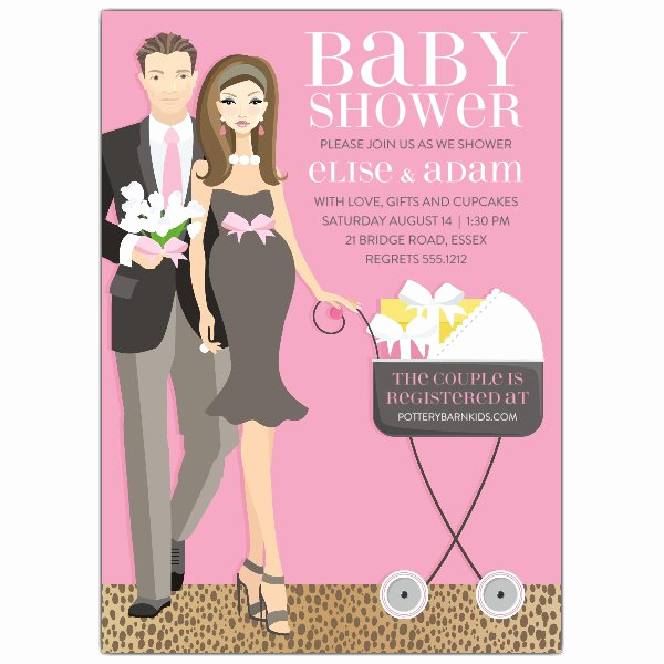 Cheap Baby Shower Invitation Inspirational Carriage Couple Brunette Pink Shower Invitations