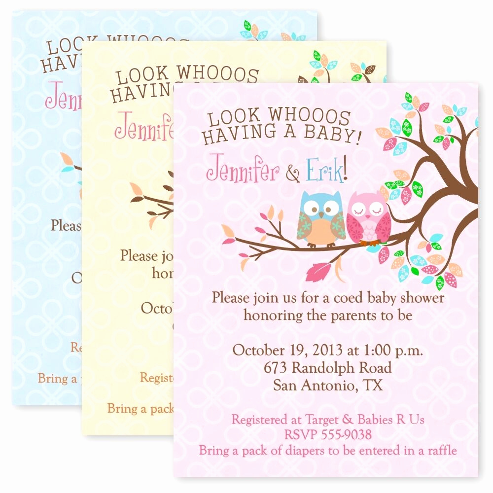 Cheap Baby Shower Invitation New Owl Baby Shower Party Invitations Custom Personalized