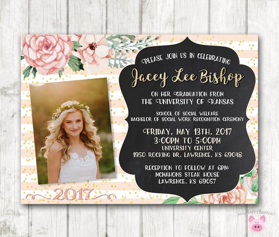 Cheap Graduation Invitation Cards Luxury Printable Graduation Invitations Floral Graduation Invites