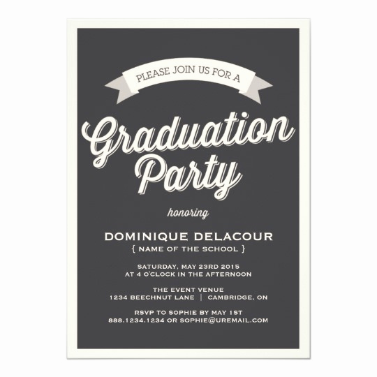 Cheap Graduation Invitation Cards New Gray Retro Typography Graduation Party Invitation