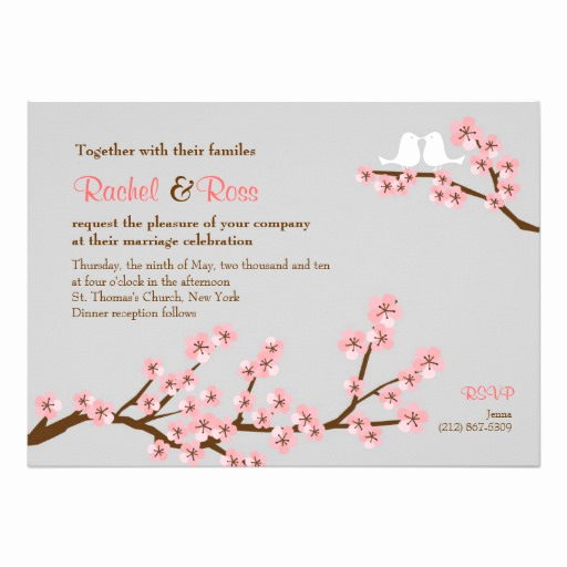 "Cherry Blossom Wedding Invitation Awesome Cherry Blossom Garden Wedding 5"" X 7"" Invitation Card"