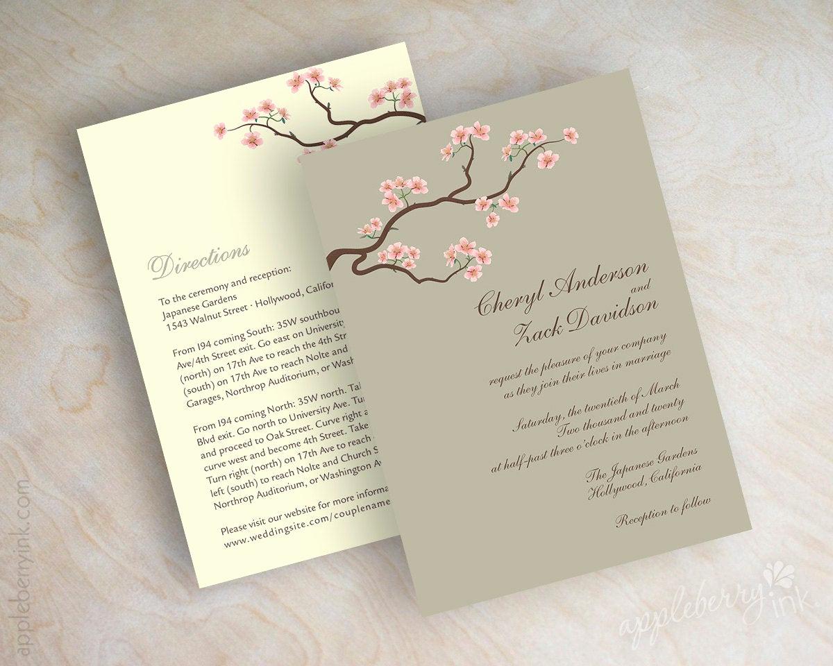 Cherry Blossom Wedding Invitation Awesome Wedding Invitations Cherry Blossom Tree Branch Wedding