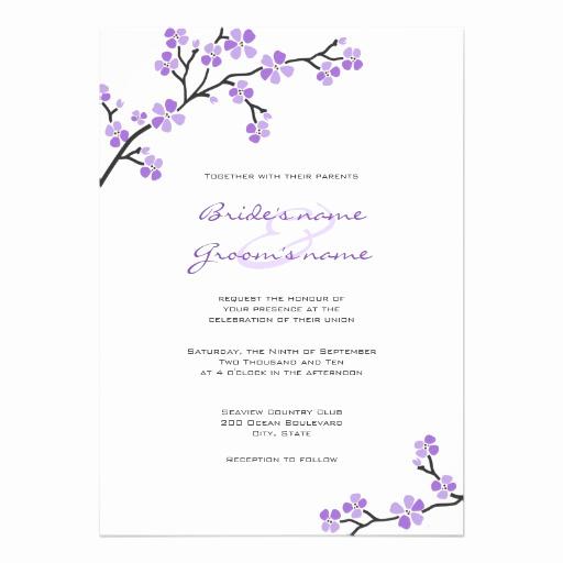 "Cherry Blossom Wedding Invitation Beautiful Purple Cherry Blossom Wedding Invitations 5"" X 7"