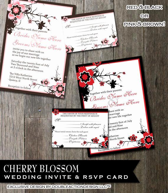 Cherry Blossom Wedding Invitation Elegant Cherry Blossom Wedding Invitation and Rsvp Card Diy Digitable